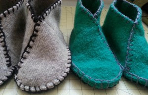 Green & Grey Slippers