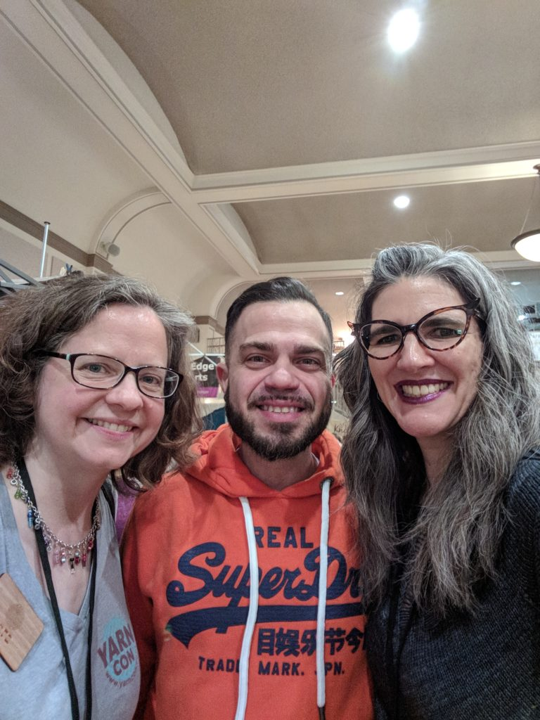 Sara, Louis (Brooklyn Boy Knits), and Natalia at YarnCon